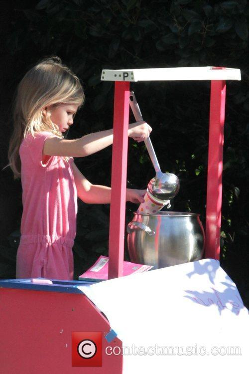 Selling lemonade outside her parents' house in Brentwood