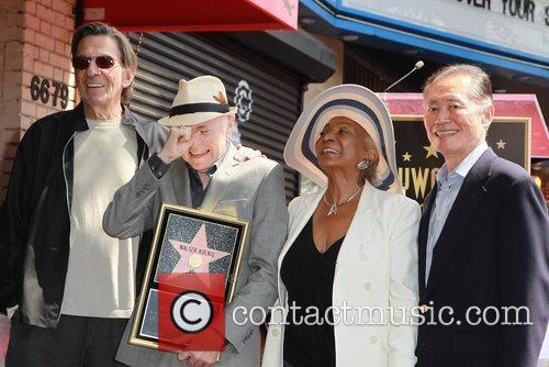 Leonard Nimoy, George Takei, Nichelle Nichols, Walter Koenig and Star On The Hollywood Walk Of Fame 1