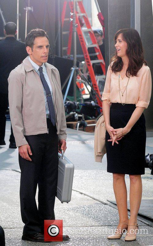 Ben Stiller and Kristen Wiig filming on location...
