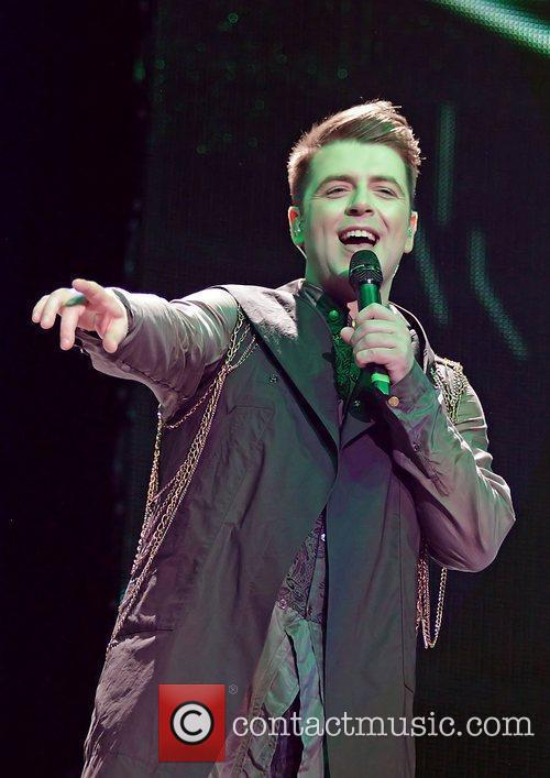 Mark Feehily of Westlife performing on their 'Farewell'...