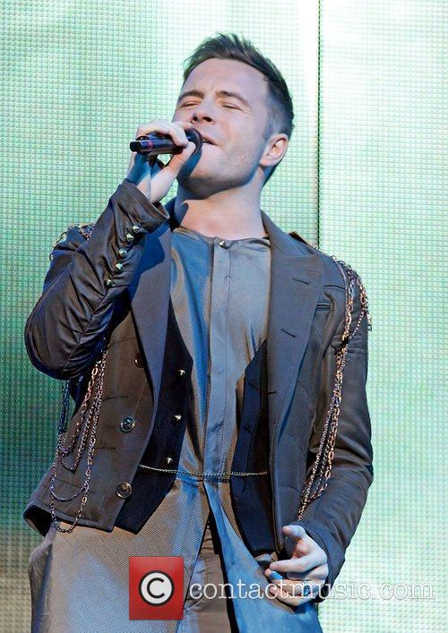 Shane Filan of Westlife performing on their 'Farewell'...