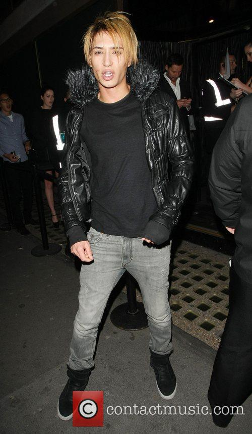 Nat Weller Celebrities outside Whisky Mist club London,...