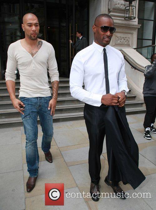 Tyson Beckford (R) seen leaving his hotel London,...