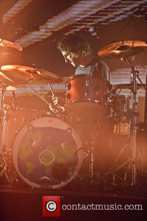 Dan Haggis of The Wombats performing live at...