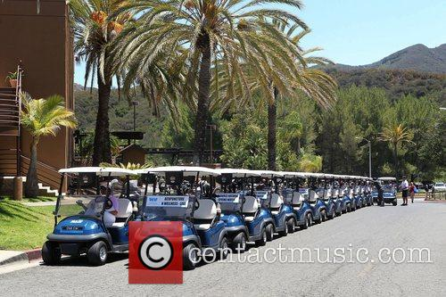 Parked golf carts at the 15th Annual Women...