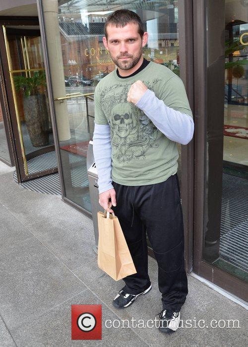Jamie Noble WWE wrestlers outside of their hotel...