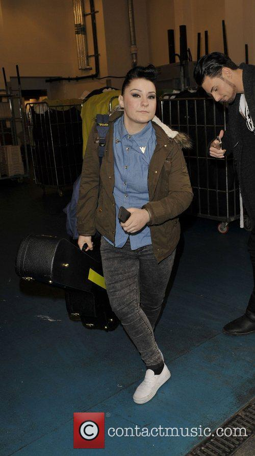 Lucy Spraggan  X Factor contestants arriving back...