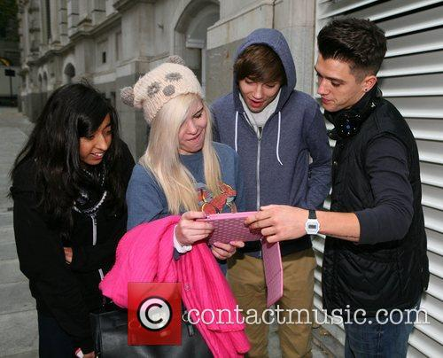 X Factor contestants outside their London hotel
