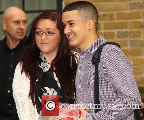 Jahmene Douglas with a fan 'X Factor' contestants...