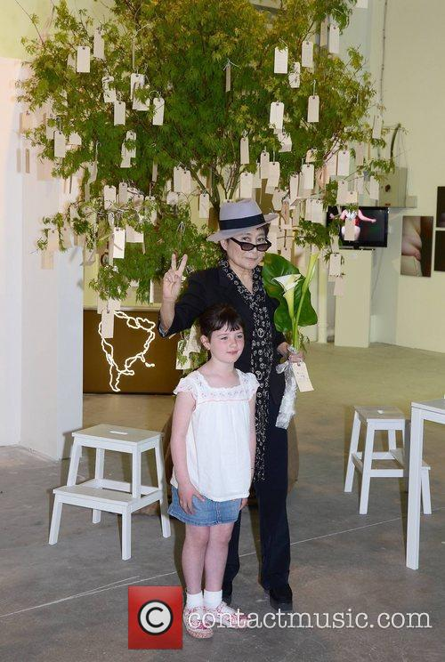 Yoko Ono visits her interactive art installation entitled...