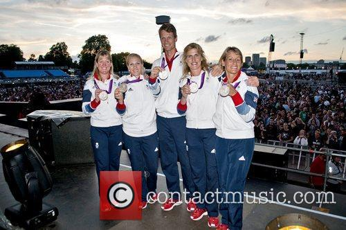 The Equestrian Team GB show off their silver...