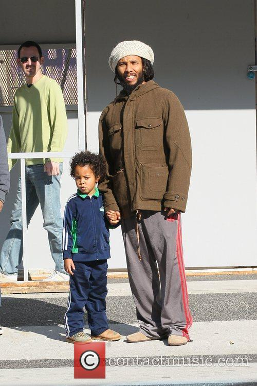 Ziggy Marley and his son out shopping at...
