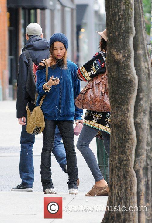 Zoe Kravitz talking to a friend in Manhattan...