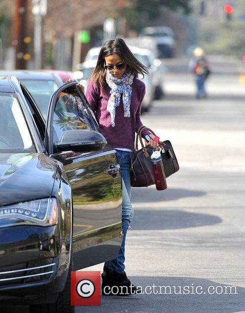 Zoe Saldana heading to an appointment on Sunset...