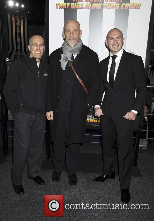 Jeffrey Katzenberg, John Malkovich and Pitbull 2