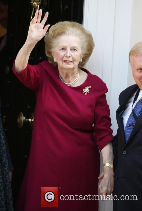 Baroness Margaret Thatcher outside her home
