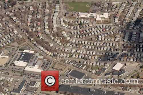 A aerial shot of the town of Watertown,...
