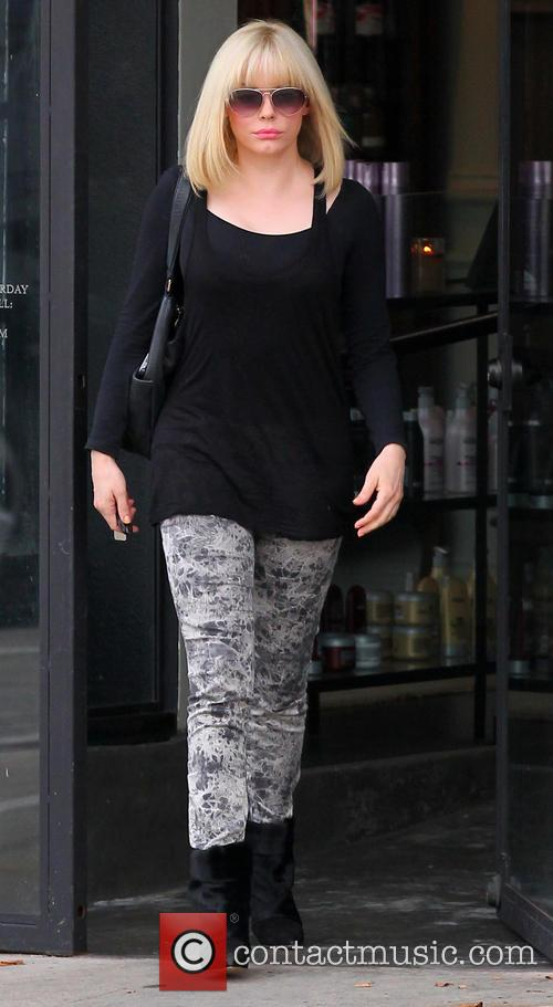 Rose McGowan seen leaving Salon Benjamin sporting blonde...