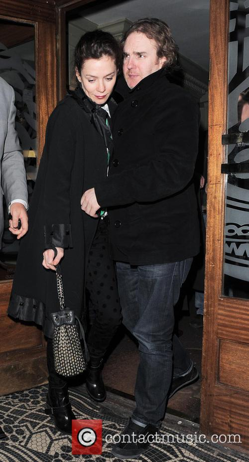 Anna Friel leaves the Vauderville Theatre after her...