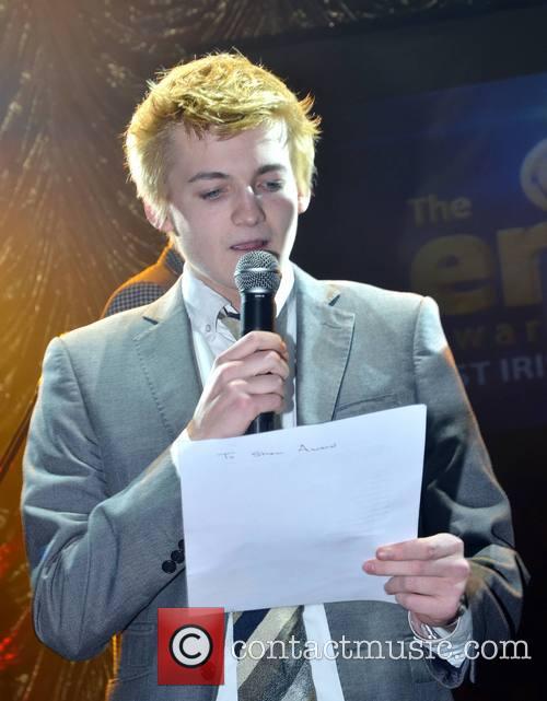 Gleeson presenting at the Erics Awards