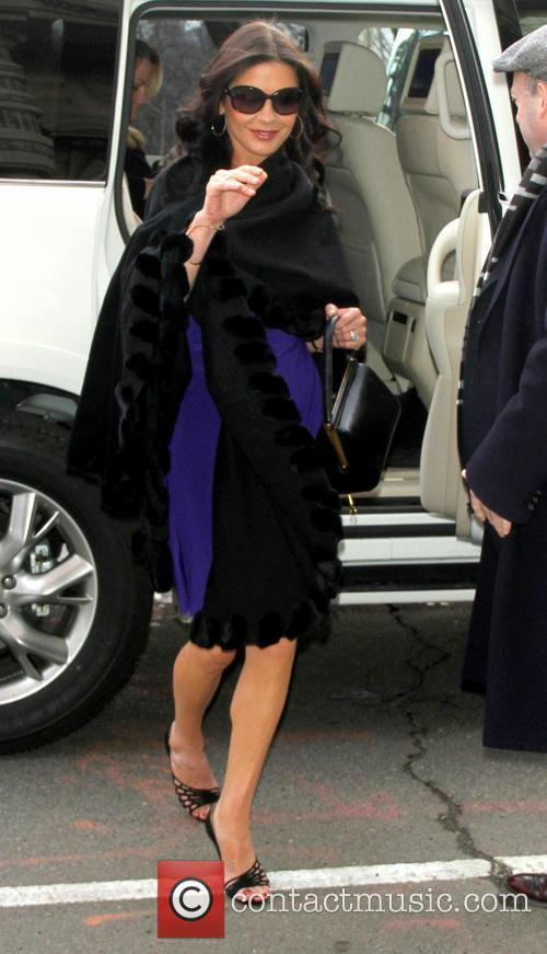 Catherine Zeta-Jones arrives at a building in New...