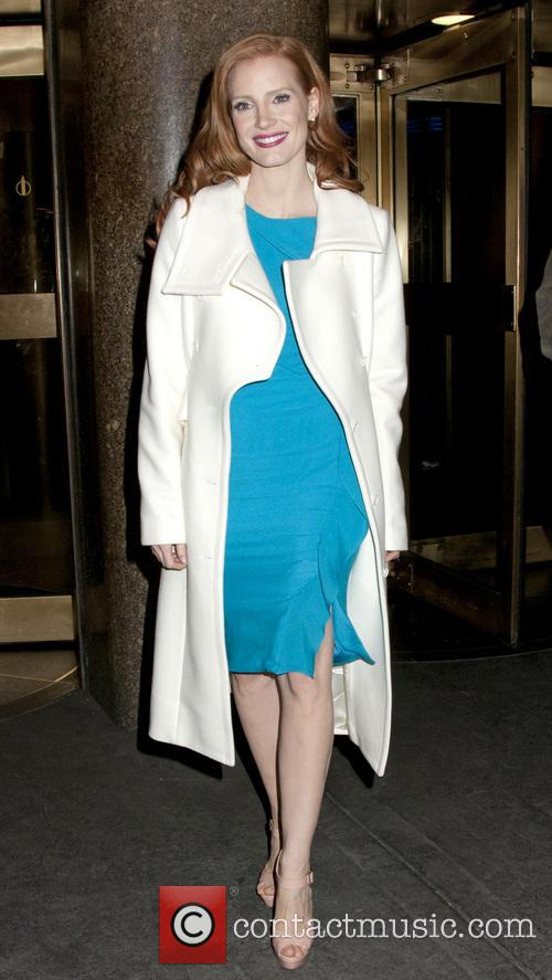 Jessica Chastain exits the NBC Studios