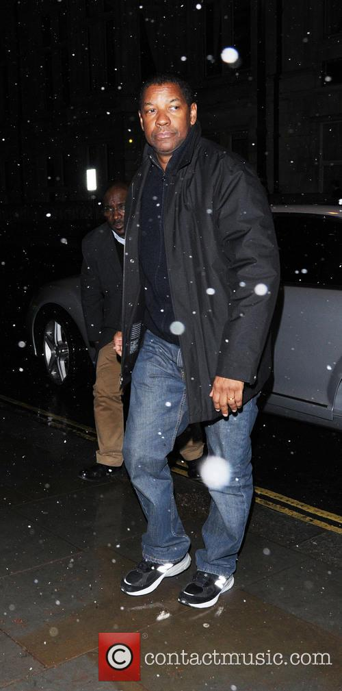 Denzel Washington seen arriving back to his hotel