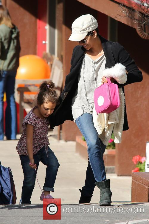 Halle Berry collects her daughter Nahla Aubry from school