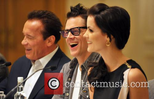 Arnold Schwarzenegger, Jaimie Alexander and Johnny Knoxville 1