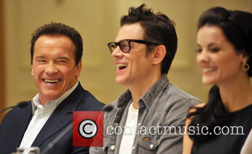 Arnold Schwarzenegger, Jaimie Alexander and Johnny Knoxville 3