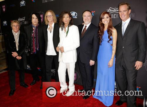 (l-r) Roger Daltrey, Paul Stanley, Tom Hamilton, Steven Tyler, Dr. Steven Zeitels, Christina Perri and Joe Buck 1