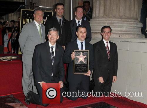 Leron Gubler, Carson Daly, Jimmy Kimmel and Eric Garcetti 2