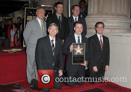 Leron Gubler, Carson Daly, Jimmy Kimmel and Eric Garcetti 1