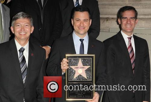 Leron Gubler, Jimmy Kimmel and Eric Garcetti 3