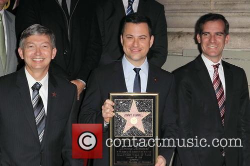 Leron Gubler, Jimmy Kimmel and Eric Garcetti 4
