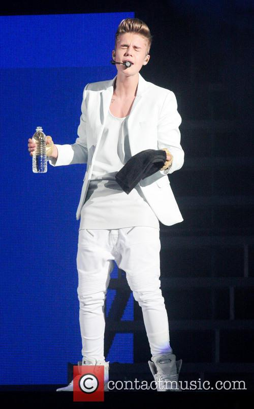 Justin Bieber performing during the 'Believe Tour'