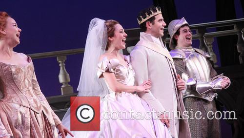 harriet harris laura osnes santino fontana an on stage marriage proposal 3474067
