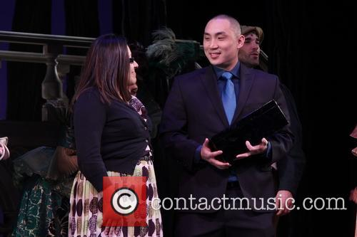 An on-stage marriage proposal at the Broadway musical...