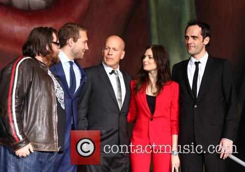 (l-r) John Moore, Jai Courtney, Bruce Willis, Yuliya Snigir and Radivoje Bukvic 2