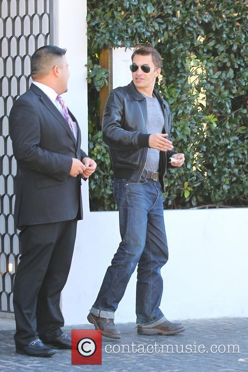 Olivier Martinez leaving Cecconi's restaurant