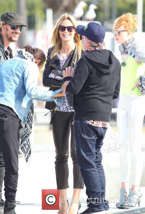 Heidi Klum filming 'Germany's Next Topmodel' on location
