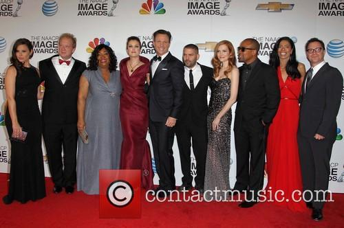 Tony Goldwyn, Katie Lowes, Jeff Perry, writer/producer Shonda Rhimes, actors Bellamy Young, Guillermo Diaz, Darby Stanchfield, Columbus Short, CEO of Smith, Company Judy Smith, Joshua Malina