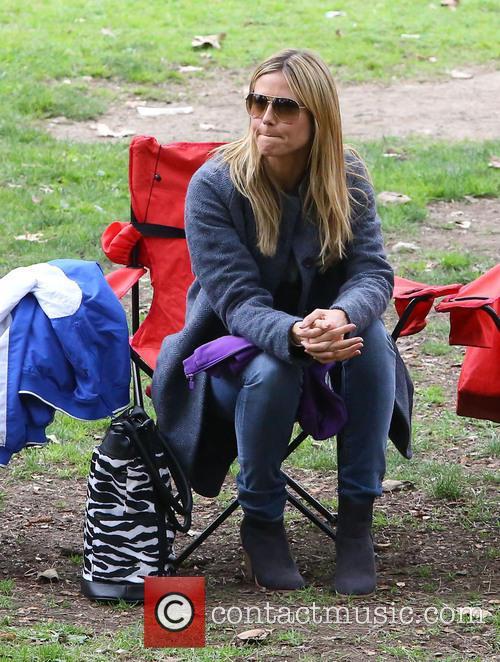 Heidi Klum, along with her boyfriend, enjoy a day watching her children play soccer