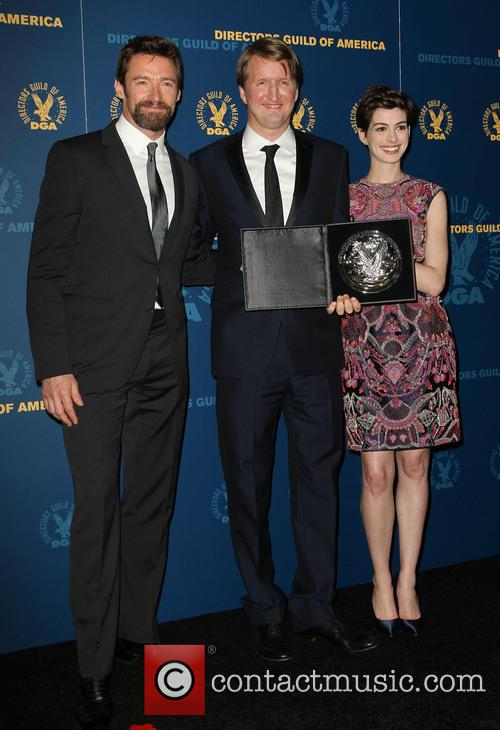 Hugh Jackman, Tom Hooper and Anne Hathaway 2