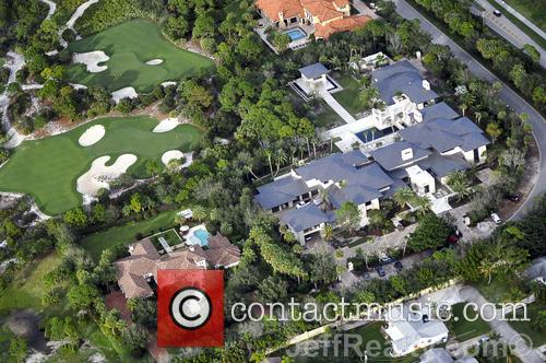 Aerial views of Michael Jordan's massive modern mansion