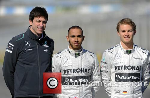 Toto Wolff, Lewis Hamilton and Nico Rosberg 2