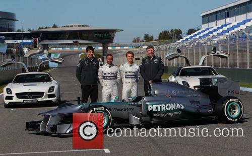 Toto Wolff, Lewis Hamilton, Nico Rosberg and Ross Brawn 3