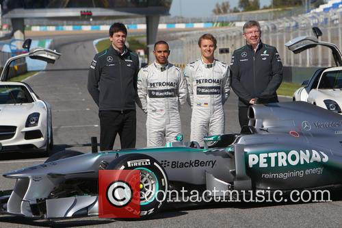 Toto Wolff, Lewis Hamilton, Nico Rosberg and Ross Brawn 1