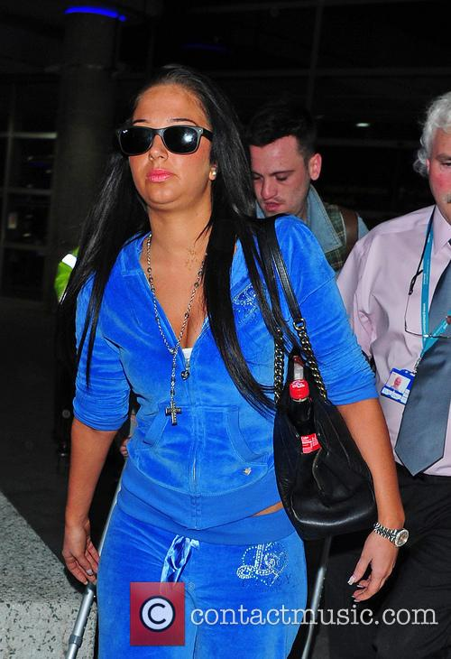 Tulisa Contostavlos arrives at Gatwick airport from Marbella