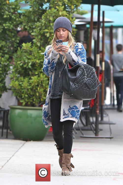Ashley Tisdale is seen leaving Urth Cafe